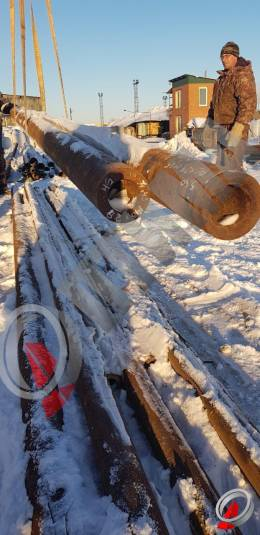 Труба стальная 140х28 фото со склада ООО «Оптима»